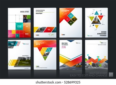 Business vector set. Brochure template layout, cover design annual report, magazine, flyer in A4 with colourful geometric shapes, squares, triangles, arrows for IT, business, building. Abstract