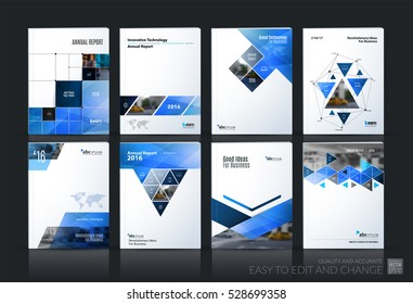 Business vector set. Brochure template layout, cover design annual report, magazine, flyer in A4 with blue geometric shapes, squares, triangles, arrows for IT, business, building. Abstract