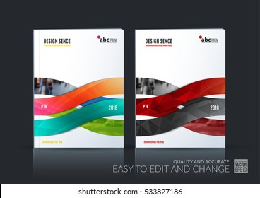 Business vector set. Brochure template layout, cover design annual report, magazine, flyer in A4 with wave, soft shapes, and lines for IT, business, beauty. Abstract art.