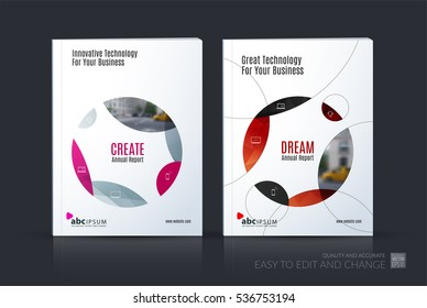 Business vector set. Brochure template layout, cover design annual report, magazine, flyer in A4 with red circle, soft shapes, parts for IT, business, beauty. Abstract art.