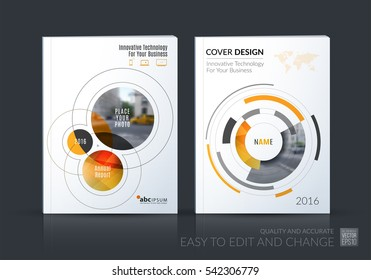 Business vector set. Brochure template layout, cover design annual report, magazine, flyer in A4 with yellow rounds, circles, soft lines for IT, business, technology. Abstract art.