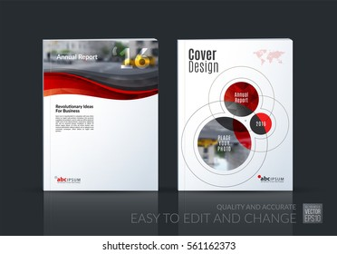 Business vector set. Brochure template layout, cover design annual report, magazine, flyer in A4 with red soft waves, smooth shapes for IT, business, beauty. Abstract art.