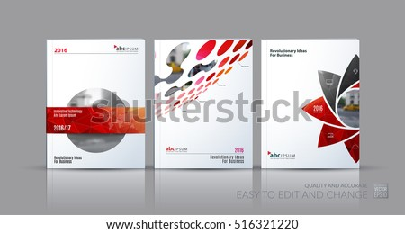 Business vector set. Brochure template layout, cover design annual report, magazine, flyer in A4 with red geometric round shapes, circles for science, travel, finance. Abstract creative design.