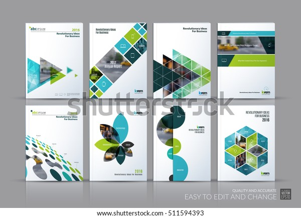 Business vector set. Brochure template layout, cover design annual report, magazine, flyer in A4 with green flying triangles, square, circles, flower, polygons for science, teamwork. Abstract
