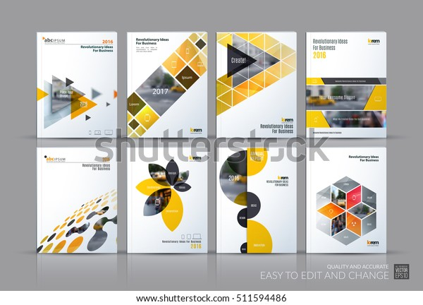 Business vector set. Brochure template layout, cover design annual report, magazine, flyer in A4 with yellow grey flying triangles, square, circles, flower, polygons for science, teamwork. Abstract.