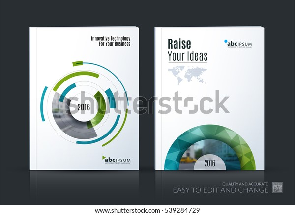 Business vector set. Brochure template layout, cover design annual report, magazine, flyer in A4 with green particles, circles, segments of rounds for IT, business, strategy, finance. Abstract art.