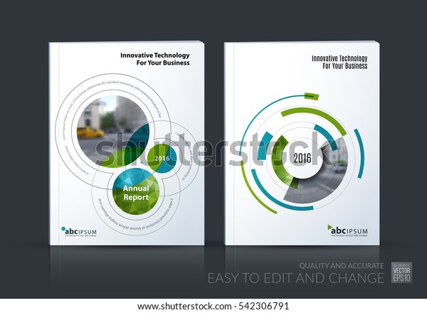 Business vector set. Brochure template layout, cover design annual report, magazine, flyer in A4 with rounds, circles, soft lines for IT, business, technology. Abstract art.