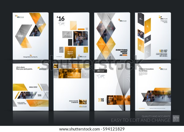 Business vector set. Brochure template layout, cover design annual report, flyer in A4 with yellow geometric shapes for PR, business, tech on bright background. Abstract creative design.
