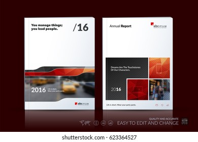 Business vector template. Brochure design, cover modern layout annual report, poster, flyer in A4 with red abstract geometric shapes for construction, teamwork theme with texture background.