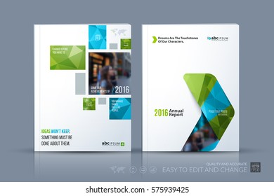 Business vector template. Brochure layout, cover modern design annual report, magazine, flyer in A4 with green geometric shapes, squares, triangles for business with abstract texture background.