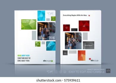 Business vector template. Brochure layout, cover modern design annual report, magazine, flyer in A4 with colourful geometric shapes, squares, triangles for business with abstract texture background.