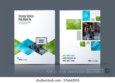 Business vector template. Brochure layout, cover modern design annual report, magazine, flyer in A4 with green geometric shapes, triangles, rhombus for business with abstract texture background.