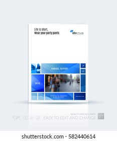 Business vector template. Brochure layout, cover modern design annual report, magazine, flyer in A4 with many blue rectangles, soft shapes for business with abstract texture background.