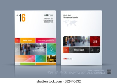 Business vector template. Brochure layout, cover modern design annual report, magazine, flyer in A4 with many colourful rectangles, soft shapes for business with abstract texture background.