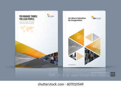 Business vector template. Brochure layout, cover modern design annual report, magazine, flyer in A4 with yellow diagonal, triangular shapes shapes for business with abstract texture background.