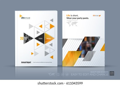 Business vector template. Brochure layout, cover modern design annual report, poster, flyer in A4 with yellow triangular shapes for finance with abstract texture background.