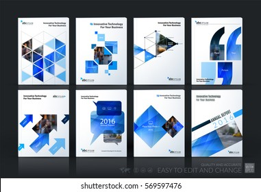 Business vector template mega set. Brochure layout, cover modern design annual report, magazine, flyer in A4 with blue geometric shapes for business with abstract texture background.