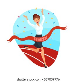 Business victory concept with happy businesswoman crossing finish line in flat style isolated vector illustration
