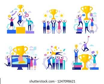 Business victory concept. Successful happy finance managers director winning rewards team with cups vector characters