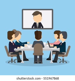 Business video conference in the room with people. Man on the screen. Discussion and communication. Video consulting.