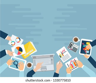 Business view desktop with hands, laptop, smartphone, documents and tablet. The concept of collaboration, brainstorming and conference. Colorful vector illustration in sketch style. Template. Mock up.