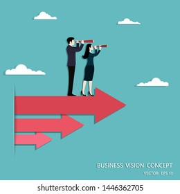 Business vision, Businessman and Business woman holding telescope standing on red arrow up go to success in career, Concept business, Achievement, Character, Leader, Vector illustration flat
