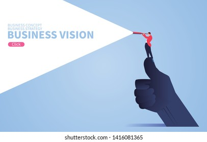 Business vision concept, businessman standing on giant's thumb using telescope to look into the distance