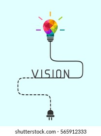 Business vision concept with colorful light bulb