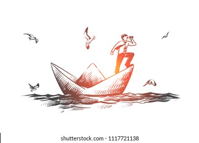 Business vision concept. Hand drawn businessman with a spyglass standing on paper boat and looking forward isolated vector illustration.