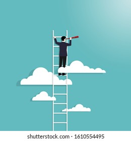Business vision concept with business man standing on top of ladder above clouds. Symbol of new opportunities, Career, Visionary, Success, Achieve. Vector illustration flat