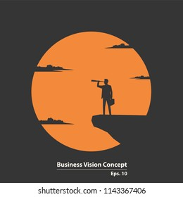 Business vision concept, Silhouette businessman standing on cliff. Businessman looking through binoculars and see successful. Illustration vector flat