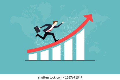 Business vision concepts, Businessman running on red arrow up go to the success, Graph, Vector illustration flat