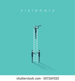 Business vision, leadership and teamwork concept vector background. Businessman standing on a ladder with monocular. Eps10 vector illustration.