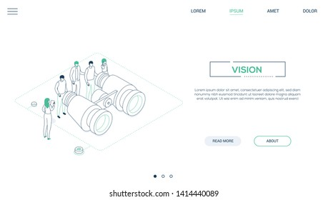 Business vision - line design style isometric web banner on white background with copy space for text. A header with a team, colleagues looking through big binoculars, trying to find best solution