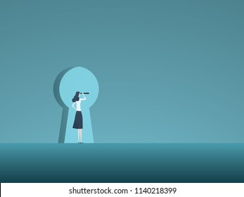 Business vision and solution vector concept with business woman looking through keyhole. Symbol of innovation, opportunity, success. Eps10 vector illustration.