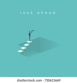 Business vision, strategy, success vector concept with businessman standing on top of stairs above hole with telescope looking ahead. eps10 vector illustration.