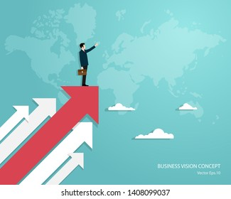 Business vision and target, Businessman holding telescope standing on red arrow up to success in career, Concept business finance, Character, Leader, Vector illustration flat