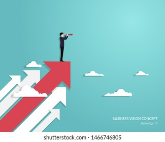 Business vision and target, Businessman holding telescope standing on red arrow up go to success in career. Concept business, Achievement, Character, Leader, Vector illustration flat