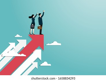Business vision and target, Businessman and woman raise hand standing on red arrow go to success in career. Concept business, Achievement, Character, Leadership, Vector illustration flat