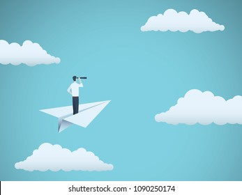 Business vision vector concept with businessman and telescope on paper plane. Symbol of business, leadership, future, progress, strategy, motivation, ambition, achievement. Eps10 vector illustration.