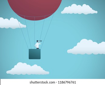 Business vision vector concept with businessman flying in hot air balloon in the sky. Symbol of business vision, leadership, mission, adventure. Eps10 vector illustration.