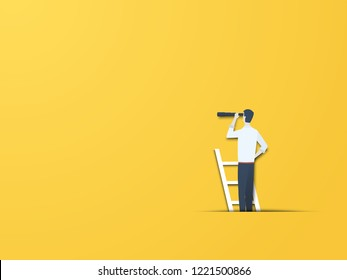 Business vision vector concept with businessman on a ladder with telescope. Modern paper cutout style. Symbol of visionary, leader, leadership concept, ambition, motivation. Eps10 vector illustration.