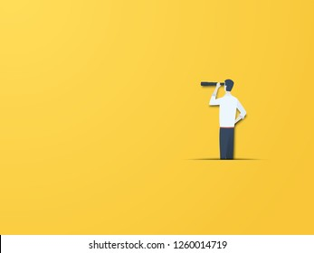 Business vision vector concept with businessman with telescope. Modern paper cutout style. Symbol of business visionary, leader, leadership concept, ambition and motivation. Eps10 vector illustration.