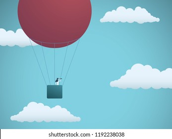 Business vision vector concept with businesswoman flying in hot air balloon in the sky. Symbol of business vision, leadership, mission, adventure and woman power. Eps10 vector illustration.