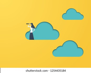Business vision vector concept with businesswoman and telescope. Symbol of business visionary, leader, leadership concept, ambition and motivation. Eps10 vector illustration.