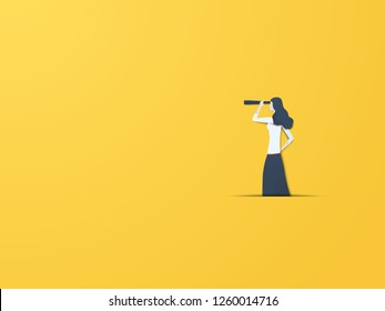 Business vision vector concept with businesswoman with telescope. Modern paper cutout style. Symbol business visionary, leader, leadership concept, ambition and motivation. Eps10 vector illustration