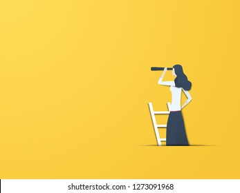 Business vision vector concept with businesswoman with telescope. Modern paper cutout style. Symbol of business visionary, leader, or new career opportunity. Eps10 vector illustration.