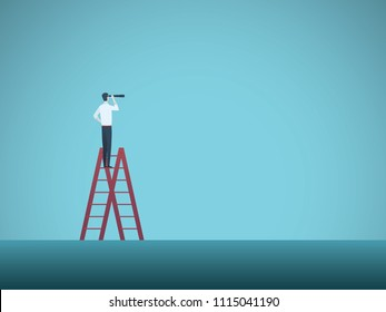 Business vision vector concept with business man standing on top of ladder. Symbol of visionary, challenges, career progress, growth, new opportunities. Eps10 vector illustration.