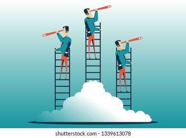 Business vision vector concept with business man standing on top of ladder above clouds. Symbol of new opportunities, career ladder, visionary, success, promotion. vector illustration.