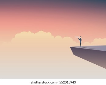 Business vision or visionary concept with businessman standing on a cliff, looking through monocular into the future. Eps10 vector illustration.